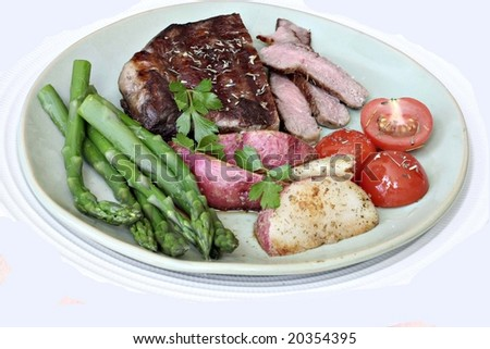 Steak served with vegetables