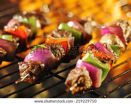 steak shishkabob skewers cooking on flaming grill - stock photo