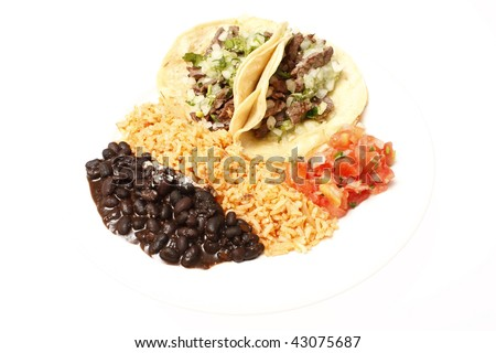 Steak soft tacos with Mexican rice, black beans, and fresh salsa ...