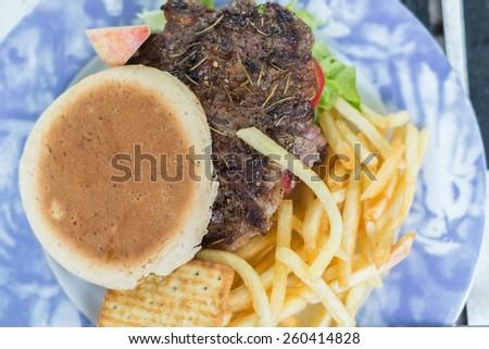 steak with  English Muffin  - stock photo