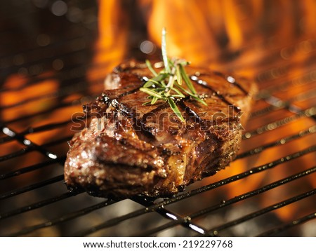 steak with flames on grill with rosemary - stock photo