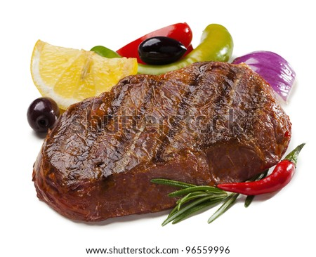 steak with lemon, olive, pepper and onion