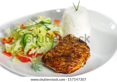steak with rice and vegetable