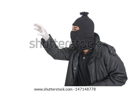 Steal man in silhouette isolated on white background  - stock photo