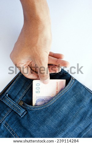 Stealing wallet from pocket of jeans