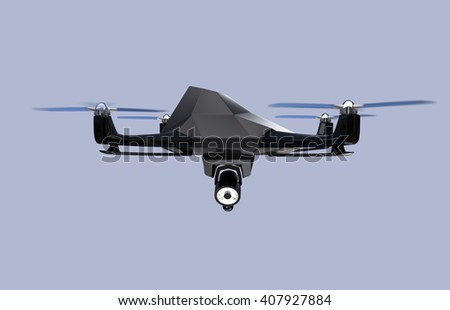 Stealth drone equip with search light flying in the sky. 3D rendering image. - stock photo