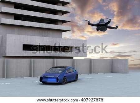 Stealth drone flying in the sunset sky. 3D rendering image - stock photo