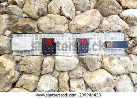 Steam bath control panel - stock photo