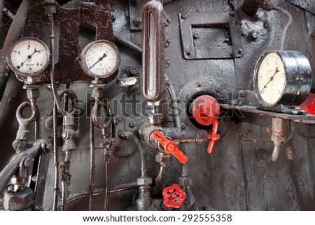 Steam engine control panel - stock photo