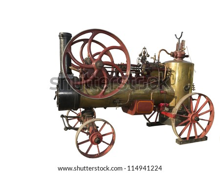 Steam-engine of 1928 of release-is isolated on the white - stock photo