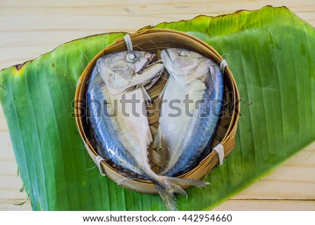 steam fish mackerel in basket - stock photo