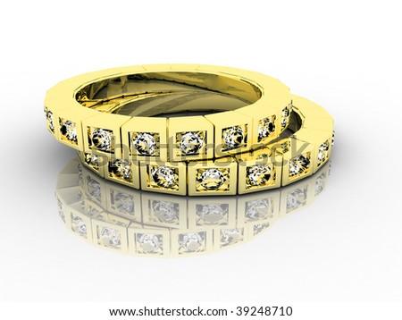 steam gold wedding rings - stock photo