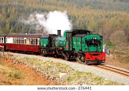 Steam loco and train on the Welsh Highland Railway