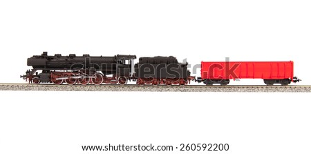 steam loco model isolated over white background - stock photo