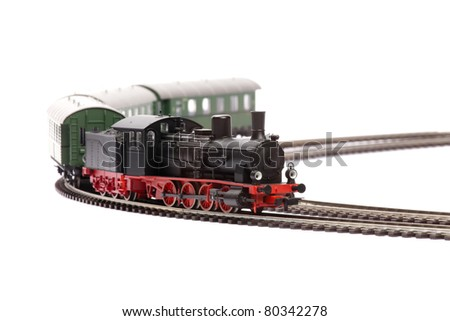 steam loco model isolated over white background