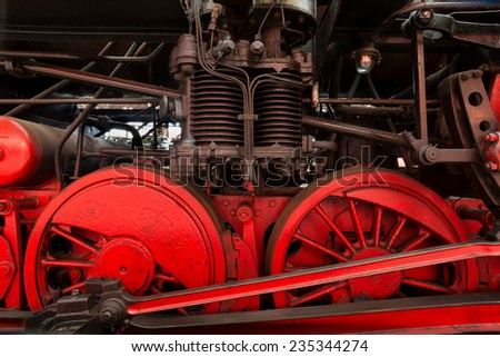 Steam locomotive detail, outdoor shot - stock photo