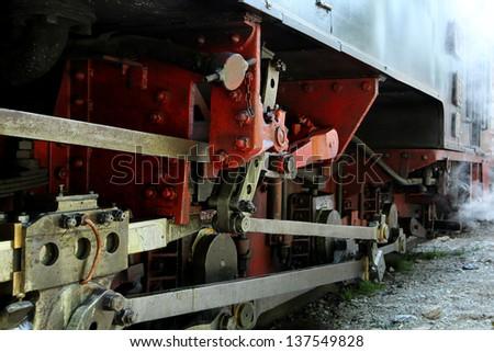 Steam locomotive (detail), Romania, Transylvania - stock photo