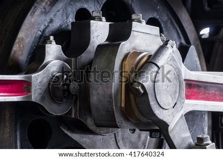 Steam locomotive wheel close up - stock photo