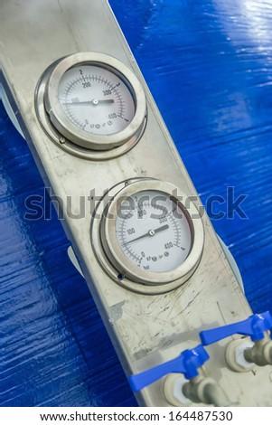 Steam Powered Engine Boiler Pressure Gauges - stock photo