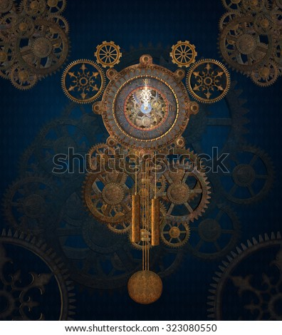 Steam punk clock background - stock photo