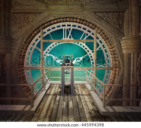 Steam punk clock in an empty room - 3D illustration