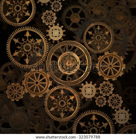 Steam punk gears background - stock photo