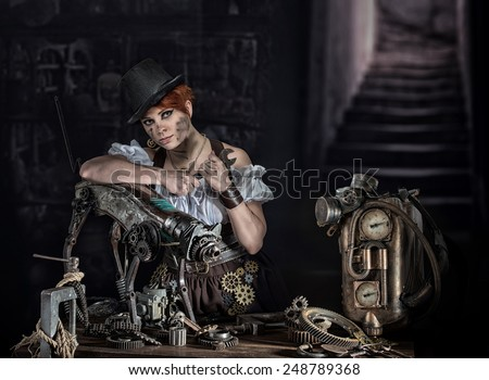 Steam-punk girl with her mechanical pet - stock photo