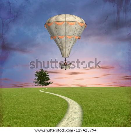 Steam punk hot air balloon - stock photo