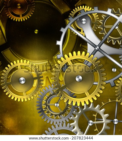 steam punk old gear mechanism on the background of old vintage parchment - stock photo