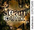 steam punk rusty square sign illustration - stock photo