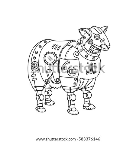 Mechanical Animal Freehand Sketch For Adult Anti Stress Coloring Book Page