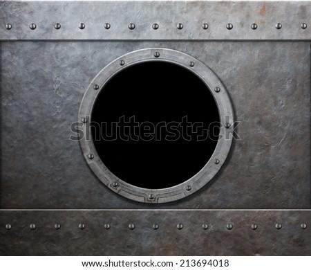 steam punk submarine or military ship window - stock photo
