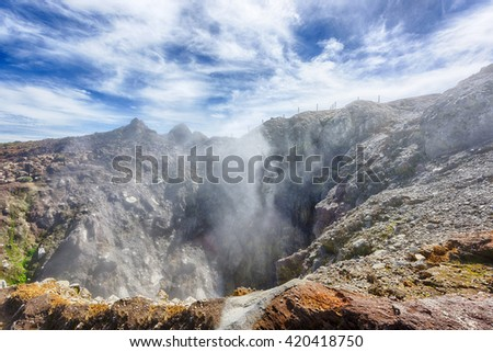 Steam rising from the crater La Soufriere volcano the highest mountain in Guadeloupe, French department in Caribbean - stock photo