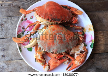 Steam Sea crab and ready to eat - stock photo