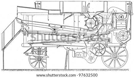 steam thresher - an illustration of the encyclopedia publishers Education, St. Petersburg, Russian Empire, 1896 - stock photo