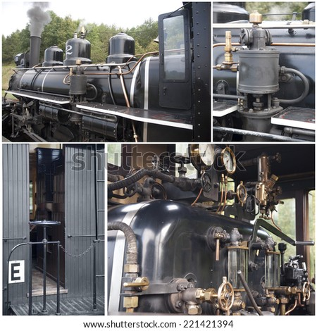 Steam Train, Cab and Parts Collage - stock photo
