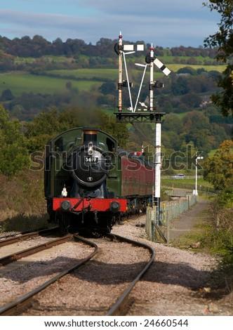 Steam Train crossing signal - stock photo