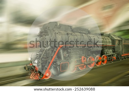 Steam train goes fast on the night station background. Sample your text.  - stock photo