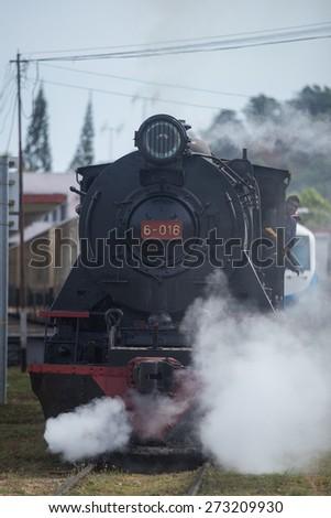 steam train is old train ,railway of the kota kinabalu - stock photo