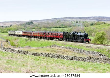 steam train, North Yorkshire Moors Railway (NYMR), Yorkshire, England - stock photo