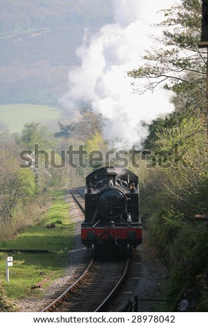steam train passing through beautiful welsh countryside