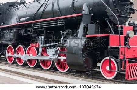 Steam train wheels. - stock photo