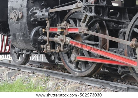 Steam train, wheels. closeup