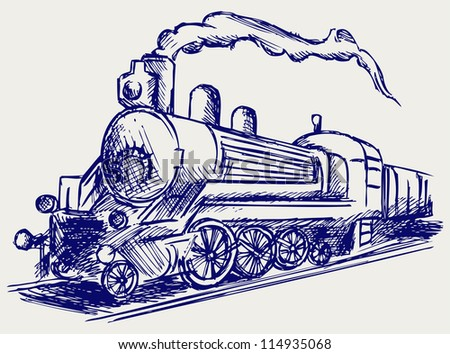 Steam train with smoke. Doodle style. Raster version - stock photo
