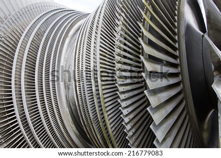 Steam turbine of nuclear power plant in sunlight
