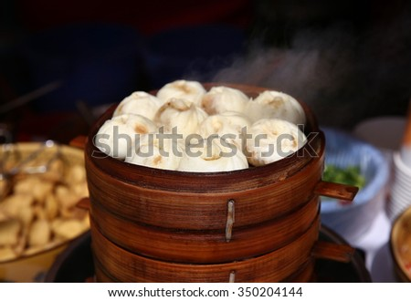 steamed baozi breakfast in China