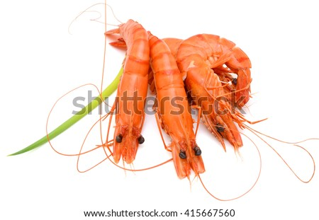 Steamed black tiger shrimps isolated on white background