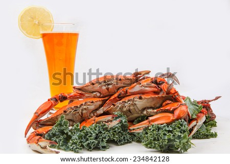 Steamed Blue Crabs garnished with kale and glass of beer on white background  - stock photo