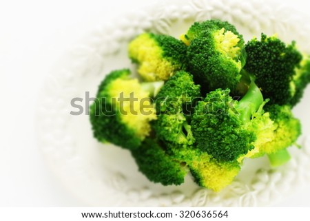 Steamed broccoli with copy space - stock photo