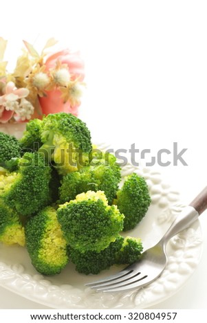 Steamed broccoli with copy space